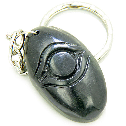 Good Luck And Protection Talisman Eye Black Jade Keychain