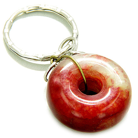 Good Luck Talisman Lucky Donut Red Jade Keychain