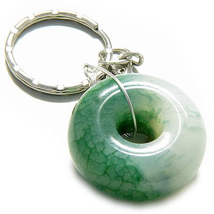 Good Luck Talisman Lucky Donut Bright Green Jade Keychain