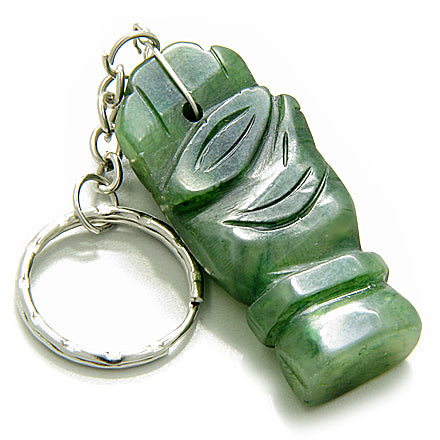 Good Luck and Protection Eye and Buddha Hand Bright Green Jade Keychain