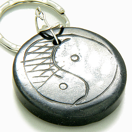 Protection Talisman Lucky Eye And Yin-Yang Black Jade Keychain