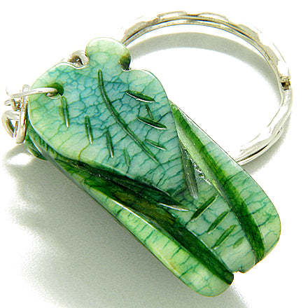 Good Luck Talisman Lucky Cicada Green Jade Keychain