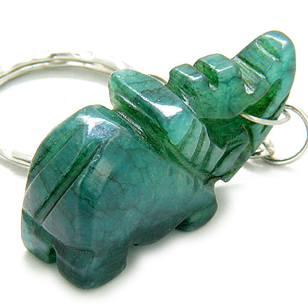 Good Luck Talisman Lucky Elephant Green Jade Keychain