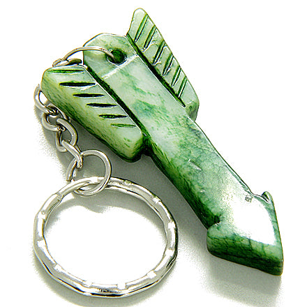 Good Luck & Protection Talisman Arrowhead Green Jade Keychain