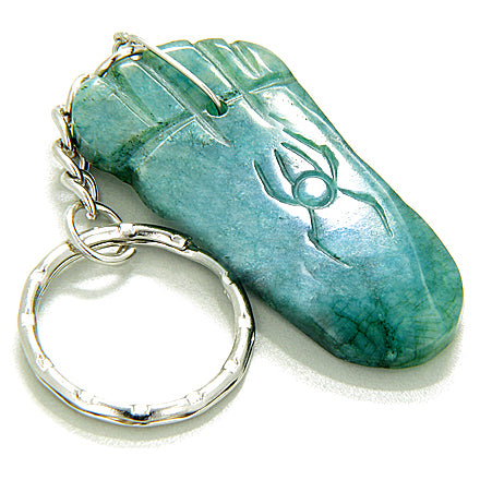 Good Luck And Protection Talisman Foot Green Jade Keychain
