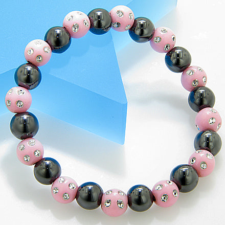Magnetic Protection Hematite Baby Pink Crystals Bracelet