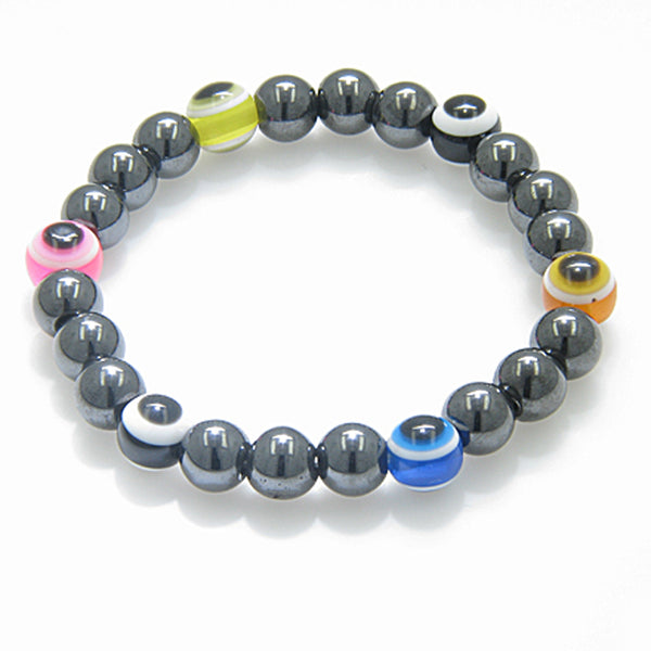 Evil Eye And Protection Magnetic Multicolor Simulated Hemalyke-Hematite Bracelet