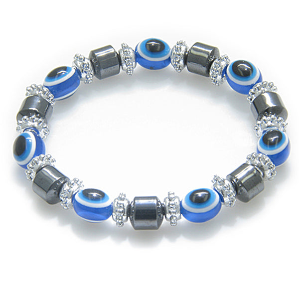 Evil Eye And Protection Magnetic Blue Eyes Simulated Hemalyke-Hematite Bracelet