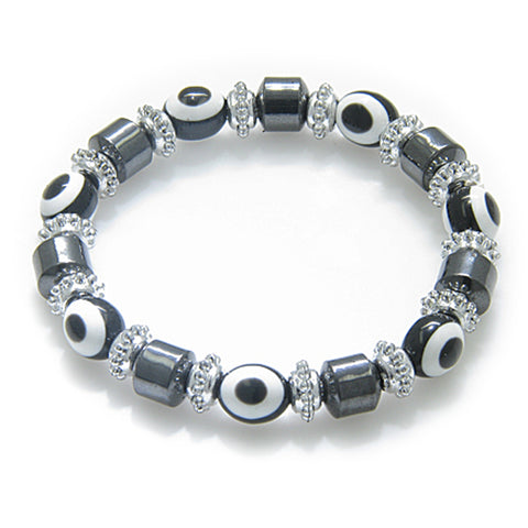 Evil Eye And Protection Magnetic Black Eyes Simulated Hemalyke-Hematite Bracelet