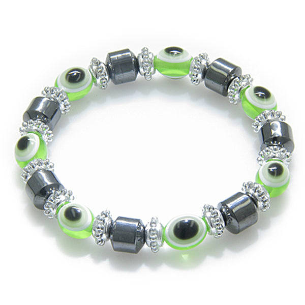 Evil Eye And Protection Magnetic Lime Eyes Simulated Hemalyke-Hematite Bracelet