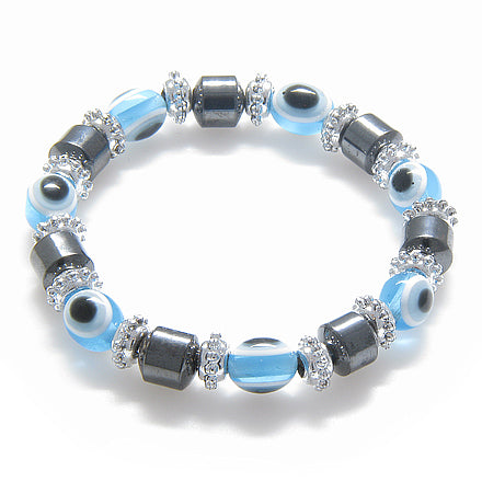 Evil Eye And Protection Magnetic Sky Blue Hematite Bracelet