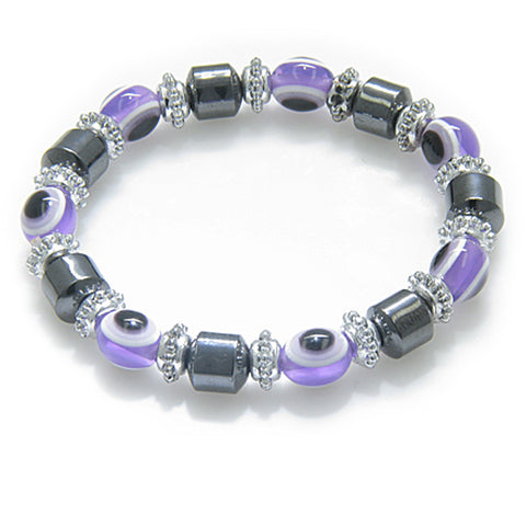 Evil Eye And Protection Magnetic Light Purple Simulated Hemalyke-Hematite Bracelet