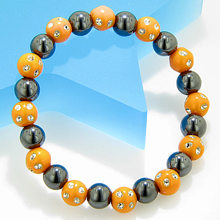 Magnetic Protection Hematite Orange Crystals Bracelet
