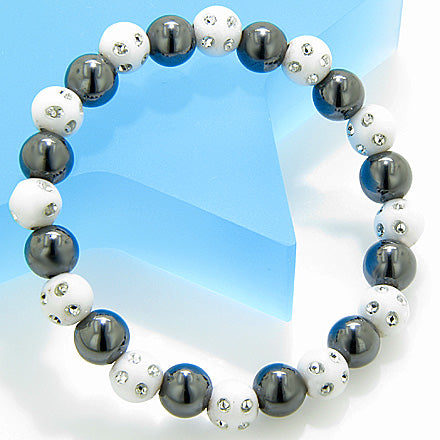 Magnetic Protection Hematite Snow White Crystals Bracelet