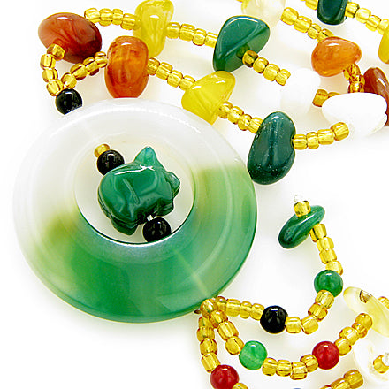 Money, Good Luck Talisman Agate And Aventurine Pig Necklace