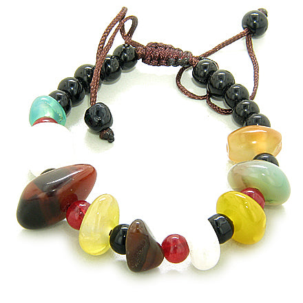 Happy And Good Luck Talisman Multicolor Agate Bracelet