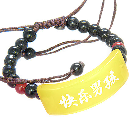 Happy And Good Luck Talisman Yellow Agate Bracelet