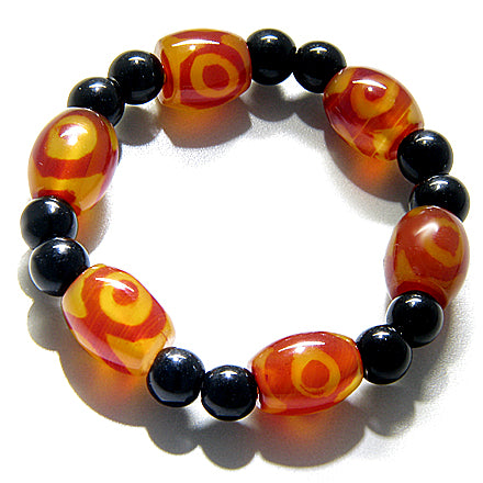 Talisman Good Luck Eye Design Agate Bracelet