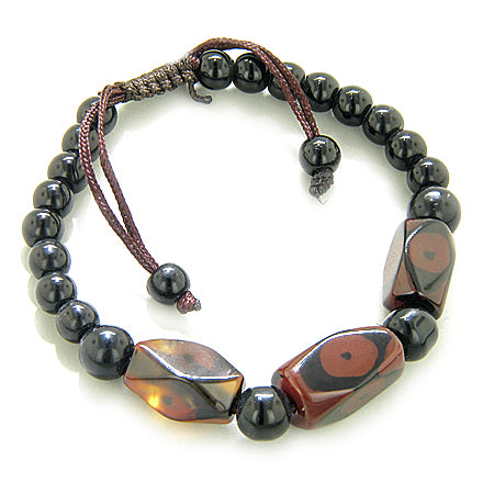 Talisman Good Luck Eye Faceted Nuggets Agate Bracelet