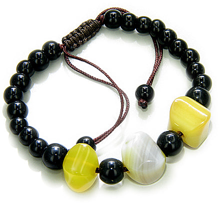 Good Luck Talisman Yellow Nuggets Agate Bracelet