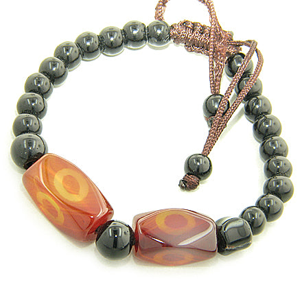 Good Luck Talisman Eye Faceted Nuggets Agate Bracelet