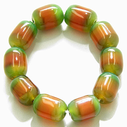 Good Luck Large Nuggets Green And Orange Agate Bracelet
