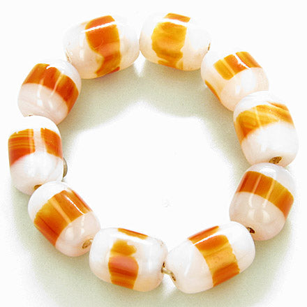 Good Luck Large Nuggets White And Orange Agate Bracelet