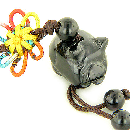 Money Talisman Black Agate Pig Cell Phone Charm