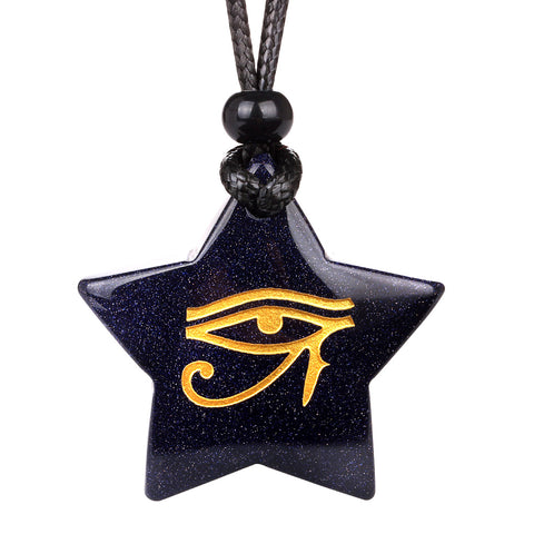 Magical Super Star Ancient Eye of Horus Powers Amulet Goldstone Lucky Charm Pendant Necklace