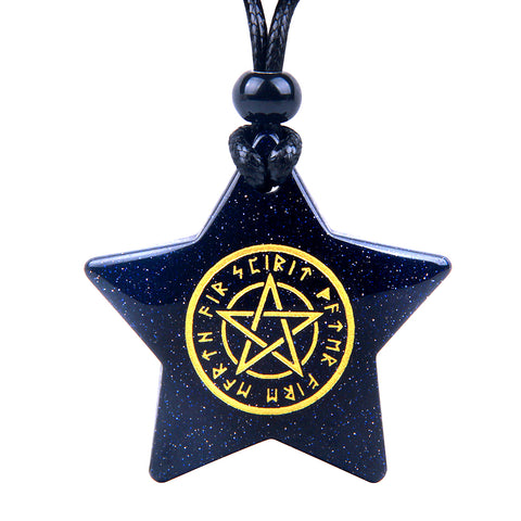 Magical Super Star Defense Runic Spiritual Energy Goldstone Lucky Charm Pendant Adjustable Necklace