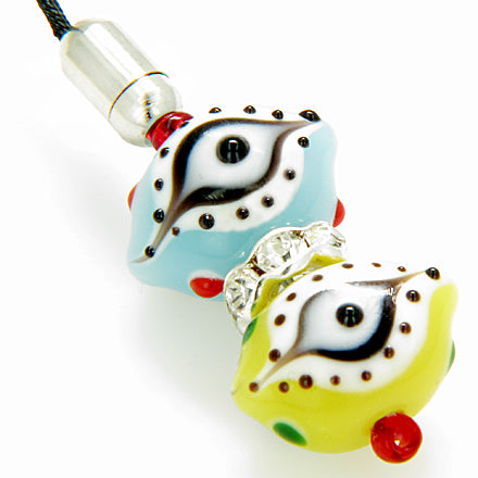 A Evil Eye Swarowski Elements Cell Phone Charm In Blue Yellow Eyes