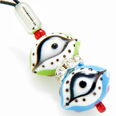 A Evil Eye & Swarowski Cell Phone Charm In Sky Blue & Lime Eyes