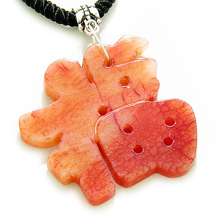 Good Luck Talisman Lucky Charm Symbol Red Jade Necklace