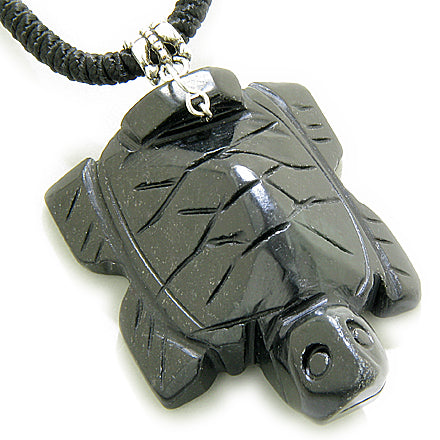 Good Luck Talisman Lucky Turtle Black Jade Necklace