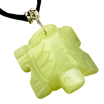 Good Luck Talisman Lucky Turtle Light Green Jade Necklace