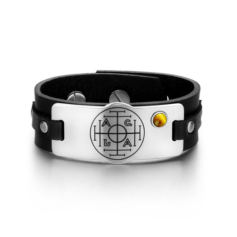 Fortune Wealth and Success Magic Circle Amulet Tiger Eye Gemstone Adjustable Black Leather Bracelet