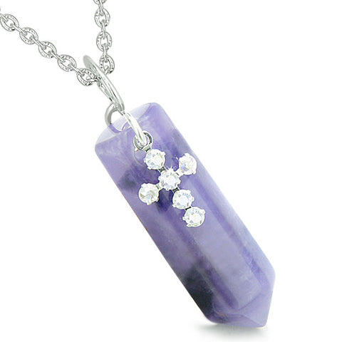 Amulet Crystal Point Holy Cross Swarovski Elements Charm Amethyst Spiritual Pendant Necklace