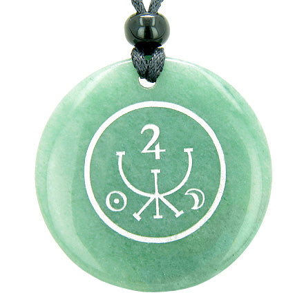 Universe Ancient Money Sigil Talisman Green Aventurine Magic Circle Good Luck Pendant Necklace