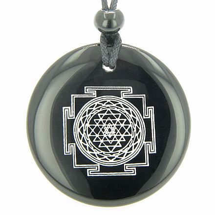 Sri Yantra Chakra Talisman Black Onyx Magic Gemstone Circle Spiritual Powers Pendant Necklace
