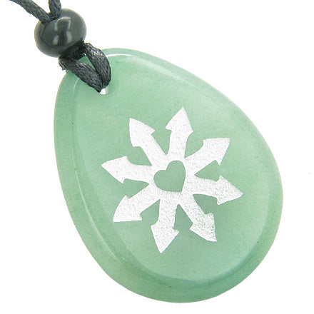 Tibetan Buddha Wheel of Fortune Good Luck Amulet Green Aventurine Totem Gem Stone Necklace Pendant