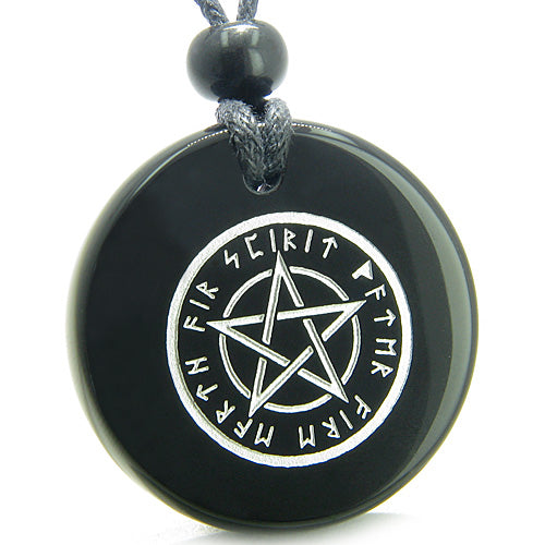 Amulet Magical Pentacle Runic Star Powerful Defense ProtectiOnyx Medallion  Necklace