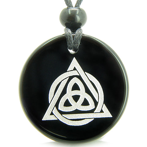 Amulet Celtic Triquetra Magic Triangular Circle Triple Protection Onyx Medallion Pendant Necklace