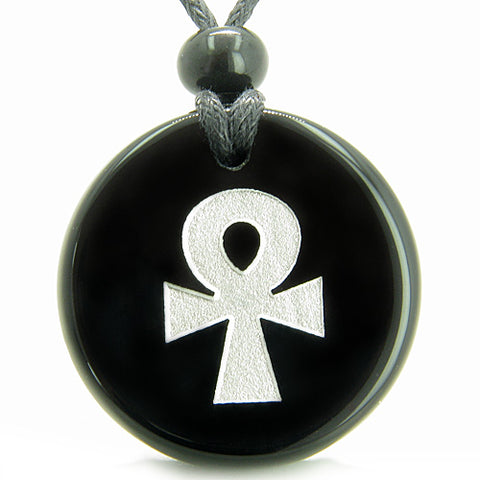 Amulet Ankh Egyptian Power of Life Spirit Protection Powers Onyx MedalliCircle Pendant Necklace