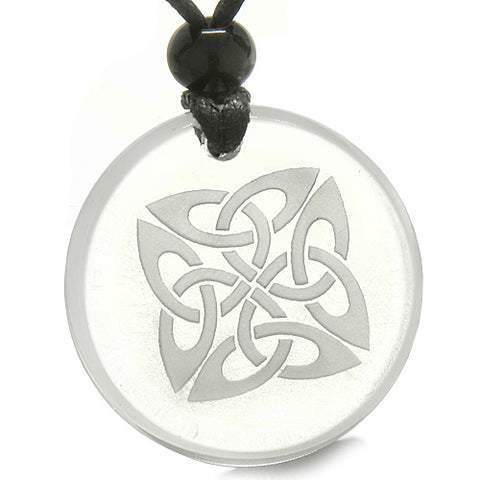 Amulet Life Protection Celtic Shield Knot Ancient Magic Powers Quartz Medallion Necklace