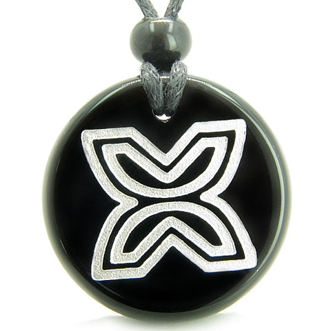 Amulet Inner Freedom Independence Protection Powers Black Onyx Medallion Circle Pendant Necklace