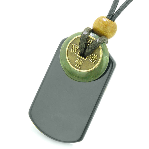 Cool Black Agate Tag and Green Moss Agate Coin Donut Amulet Magic Powers Pendant Necklace