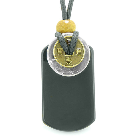 Cool Black Agate Tag and Crystal Quartz Coin Donut Amulet Magic Powers Pendant Necklace