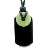 Cool Black Agate Tag and Green Serpentine Lucky Coin Shaped Donut Amulet Magic Powers Pendant Necklace