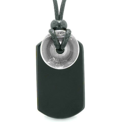 Cool Black Agate Tag and Crystal Quartz Lucky Coin Shaped Donut Amulet Magic Powers Pendant Necklace