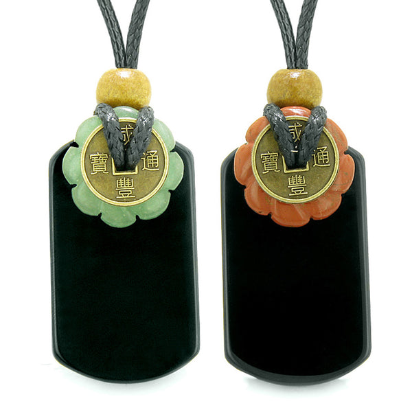 Cool Agate Tag Red Jasper Green Quartz Lucky Celtic Coin Donut Amulets Couples or Best Friends Necklaces